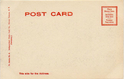 Back of postcard - postage: 1 cents domestic, 2 cents foreign
