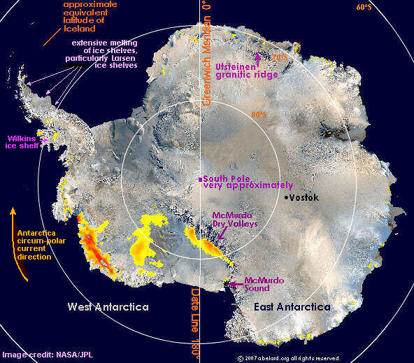 Antarctica, satellite photo from 2005, marked          to show location of Larsen ice shelf Image credit: NASA/JPL.
