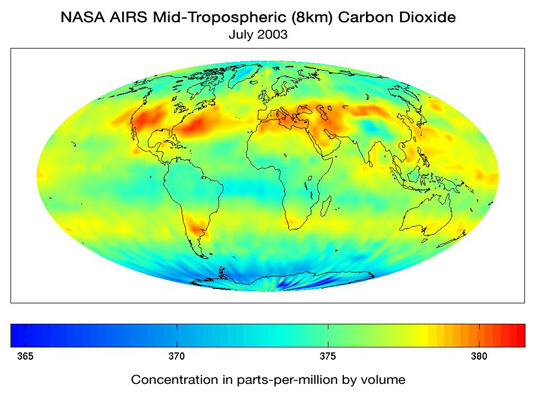 Mid-tropospheric (8km) carbon dioxide. Credit: AIRS Science Team, JPL, NASA
