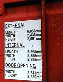 Container internal and externnal dimensions.
