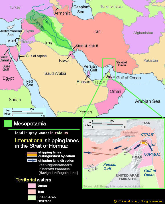 Map: Strait of Hormuz - international shipping lanes, territoial waters, and Mesopotamia