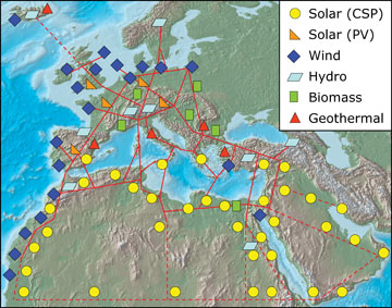 Renewable energy super-grid. Image: Trans-Mediterranean Renewable Energy Cooperation (TREC)