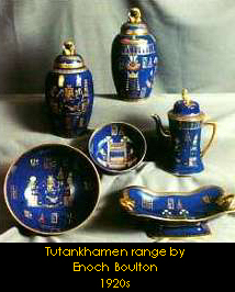 Set of dishes with Tutenkhamen inspired designs and colours by Enoch Boulton