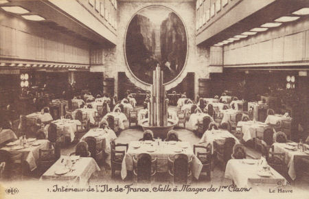 First class dining room on the Ile de France ocean liner, from souvenier carnet 1927