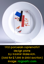1923 porcelain suprematist porcelain plate by Kasimir Malevich. Image: ragoarts.com
