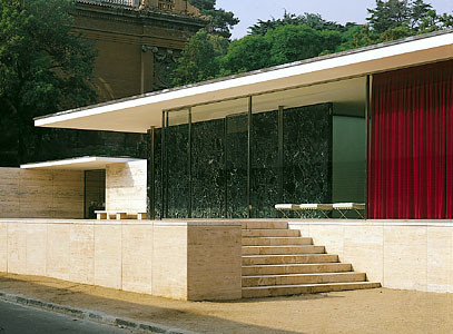 German Pavilion, Barcelona. Designed by Ludwig Mies van der Rohe