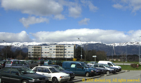 From the parking to the Jura mountains at the Ceignes-cerdon aire on the A40