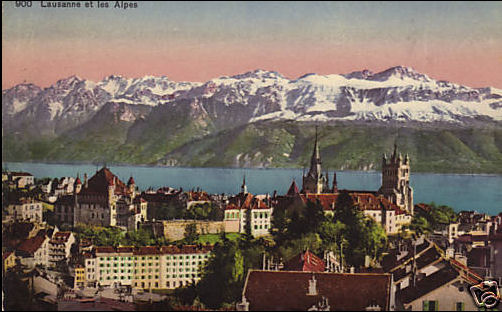 1924 postcard of Lausanne City, with Cathedral de Notre Dame, Lake Geneva and the Alps beyond.