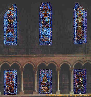 Taller twentieth century stained glass above, shorter 13th century glass below - Lausanne cathedral