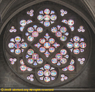 Interior of south rose window at Lausanne cathedrale cathedral