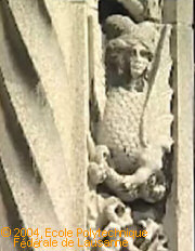 Detail of sculture at Lausanne Cathedral. Image: EPFLTV