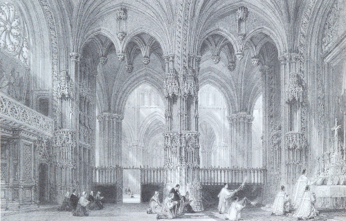 19th century engraving of the Chapel of the Bourbons, with Flamboyant spiral rose window on the left.