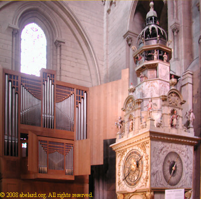 The transept organ, with the astronomical clock