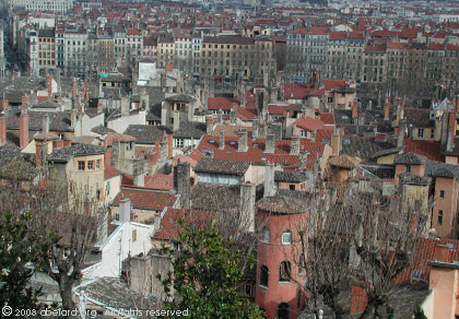 Lyon - the picturesque old quarter, with more recent urban buildings beyond, as seen from the Fourviere hill