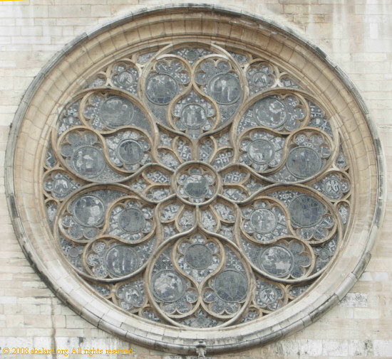 The central rose window at Lyon cathedral, from the exterior