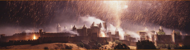The fortified city of Carcassonne lit up by feux d'artifice. Image: carcassonne.org