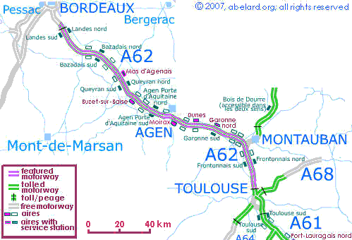 Map featuring the A62 autoroute/motorway.