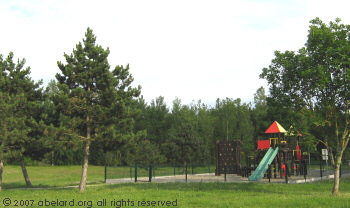 Children's play area with climbing wall