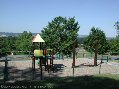 Children's play area at Moirax, with the Agen valley beyond
