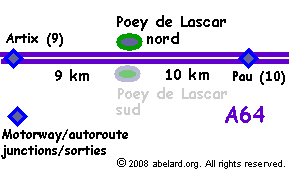 sketch map locating the Poey de Lascar aire, A64