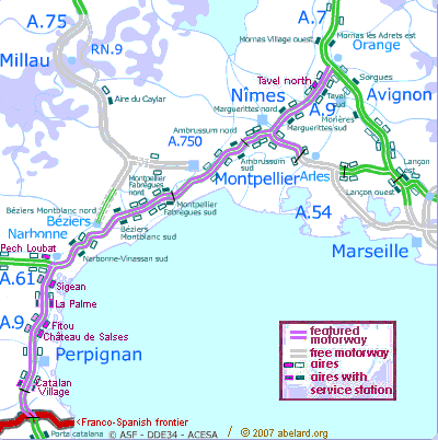 Interactive map of the A9 autoroute, with featured aires marked.