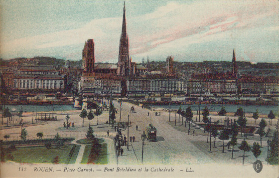 Boieldieu Bridge, with Rouen cathedral beyond. This Boieldieu Bridge was destroyed in 1940.