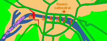 Sketch map of riverside Rouen, marking the bridges