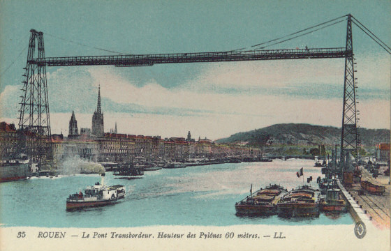 The transporter bridge at Rouen,opened in 1898          and destroyed on 9 June 1940.