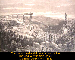 The viaduc de Garabit under construction. Click on image for further information.