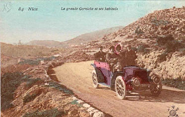 Motor touring on the coast road at Nice.