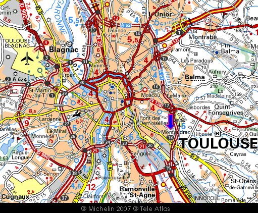 Michelin of Toulouse, with Cité de l'espace marked (blue arrow)