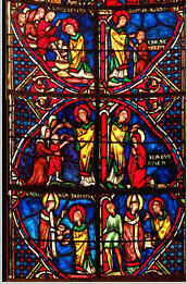 Part of a stained glass window at Bourges cathedral