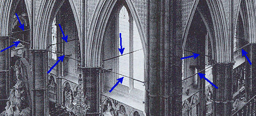 Iron stabilising bars in Westminster Abbey [indicated with blue arrows]