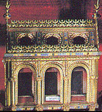 A reliquary, used to house a sacred relic; from Laon cathedral