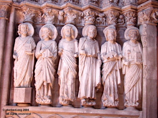 Saints to the left of the porch at Dax Cathedral, south-west France