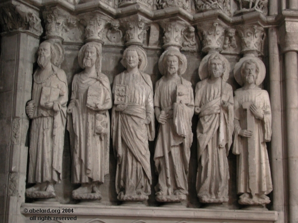 Apostles to the right of the medieval porch at Dax Cathedral, south-west France.