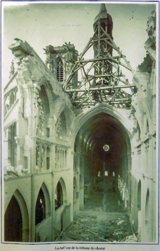 Nevers cathedral after accidental bombing by the RAF in 1944