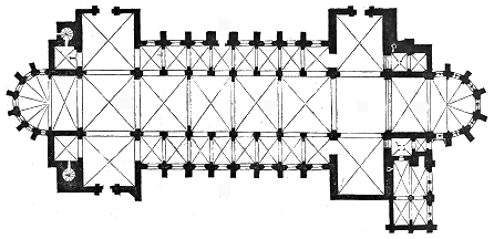 plan of Verdun cathedral, by Eugene Viollet-le-Duc