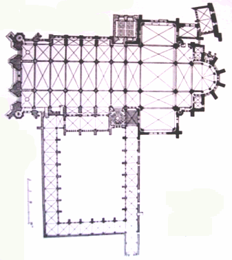 Plan of Toul cathedral, including the cloister