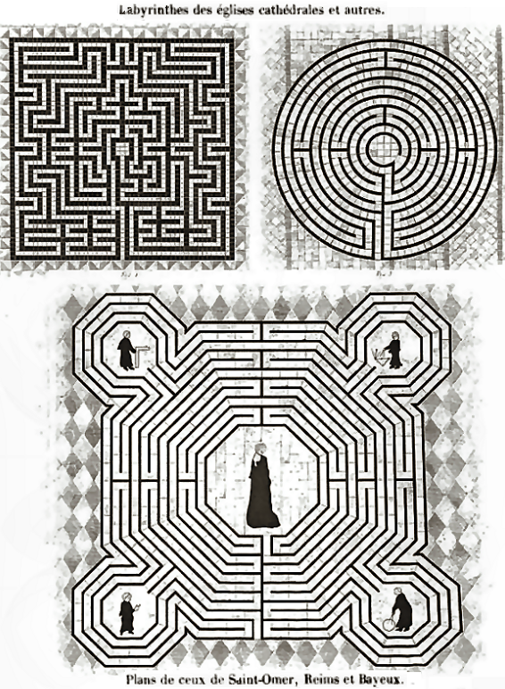 Labyrinth plans at Saint-Omer, Bayeux and Reims