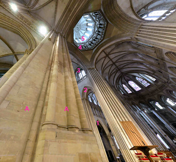 Where the nave and transept cross, Coutances Cathedral - looking up.