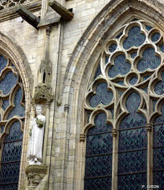 Stone tracery on stained glass windows at Coutance cathedral