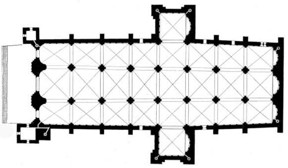 Poitiers cathedral, floor plan