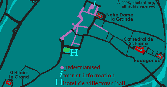 sketch map of Poitiers city centre