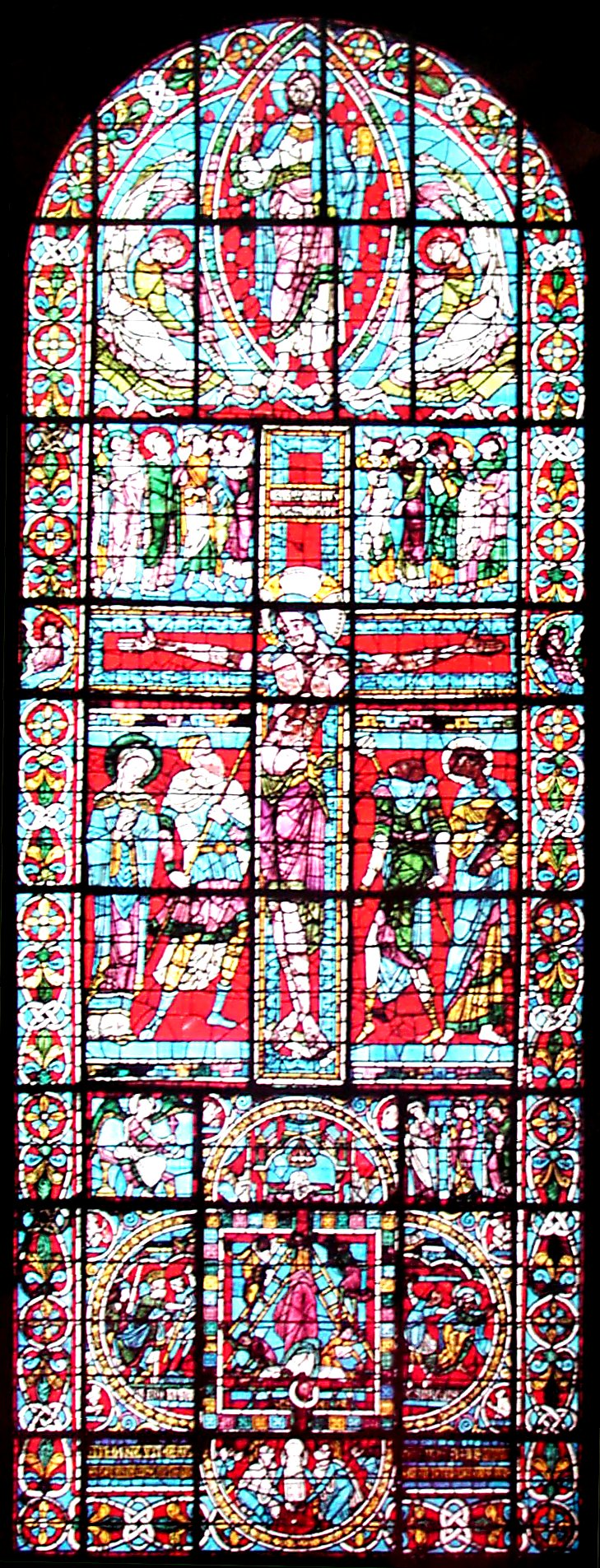 Window of the crucifixion in St Peter's Cathedral, Poitiers. image � abelard.org, 2004