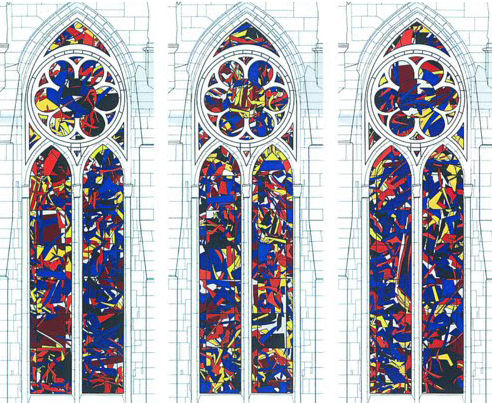Three of the six windows by Imi Knoebel for Reims cathedral.