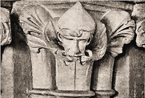 Capital at Wells cathedral _ man with toothache