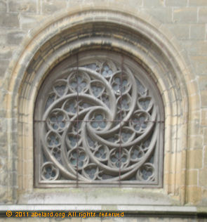 A small spiral window at Bayonne cathedral
