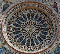 West rose window (exterior) at Orvieto cathedral, mid-14th century.