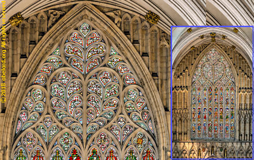 Detail of tracery in the west window of York Minster with a heart-shaped design (insert shows the full window)